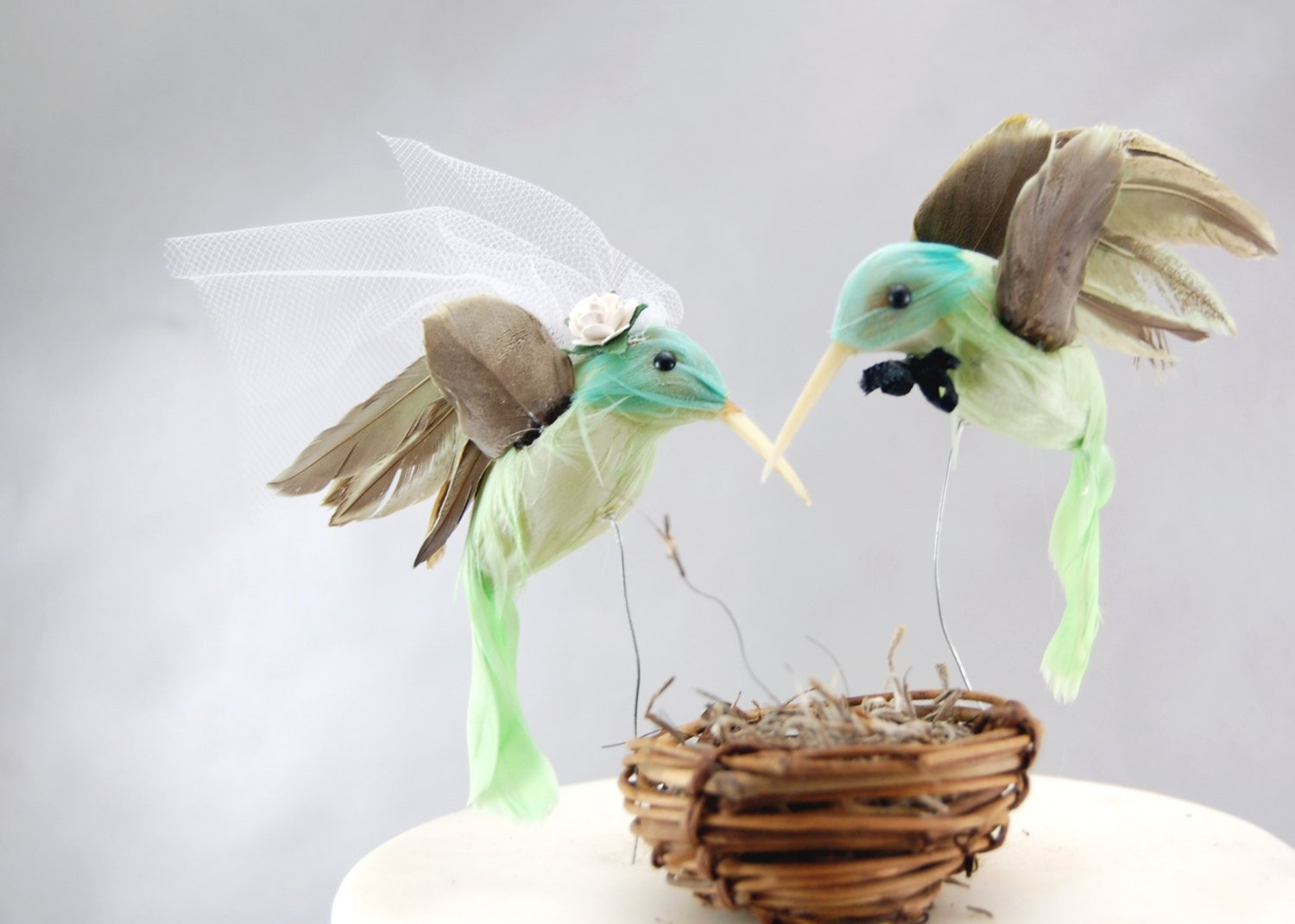 Hummingbird Cake Topper: Humming Bird''Bride and Groom'' Wedding Cake Topper in Mint Green by Becky Kazana