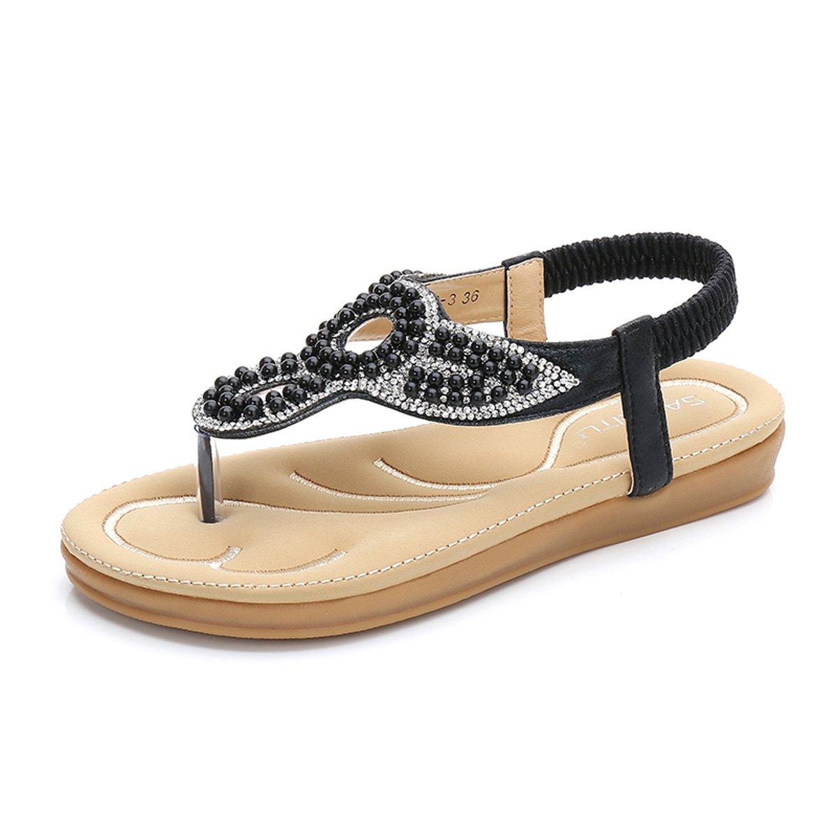 gracosy Damen Sandalen, Flip Flops Sommer Sandals Flach Zehentrenner T-Strap Offen Bouml;hmische Strand Schuhe  39 EU|Schwarz-d