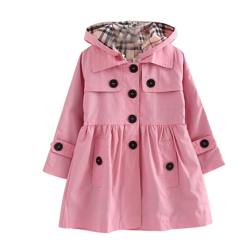 LSERVER Little Girls A-line Single Breasted Hooded Cotton Trench Coat Jacket Pink 110