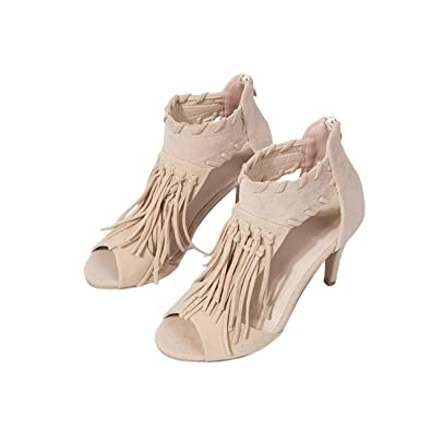 2fa31dc3b Image Unavailable. Image not available for. Color  Summer Women Open Toe  High Heel Sandals Tassels ...