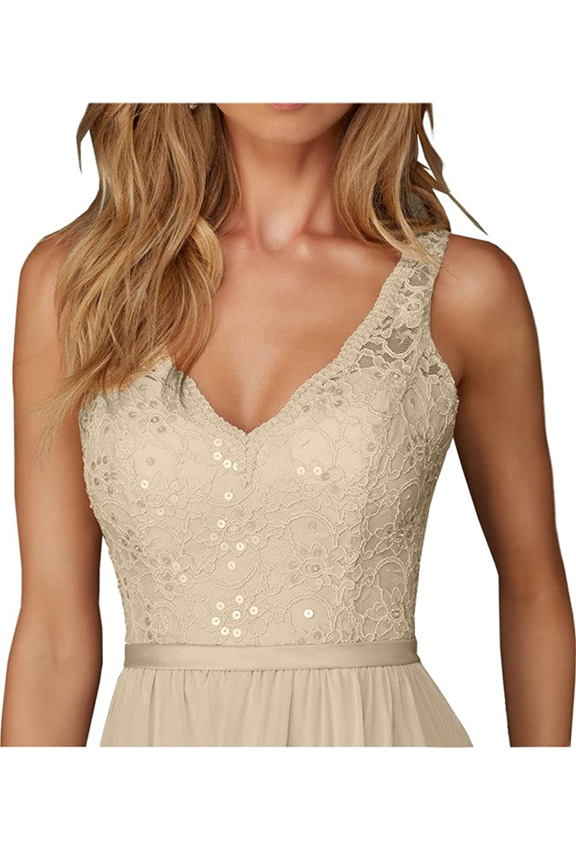 Charm Bridal Long Chiffon Lace V Neck Bridesmaid Women Evening Dress Sleeveless