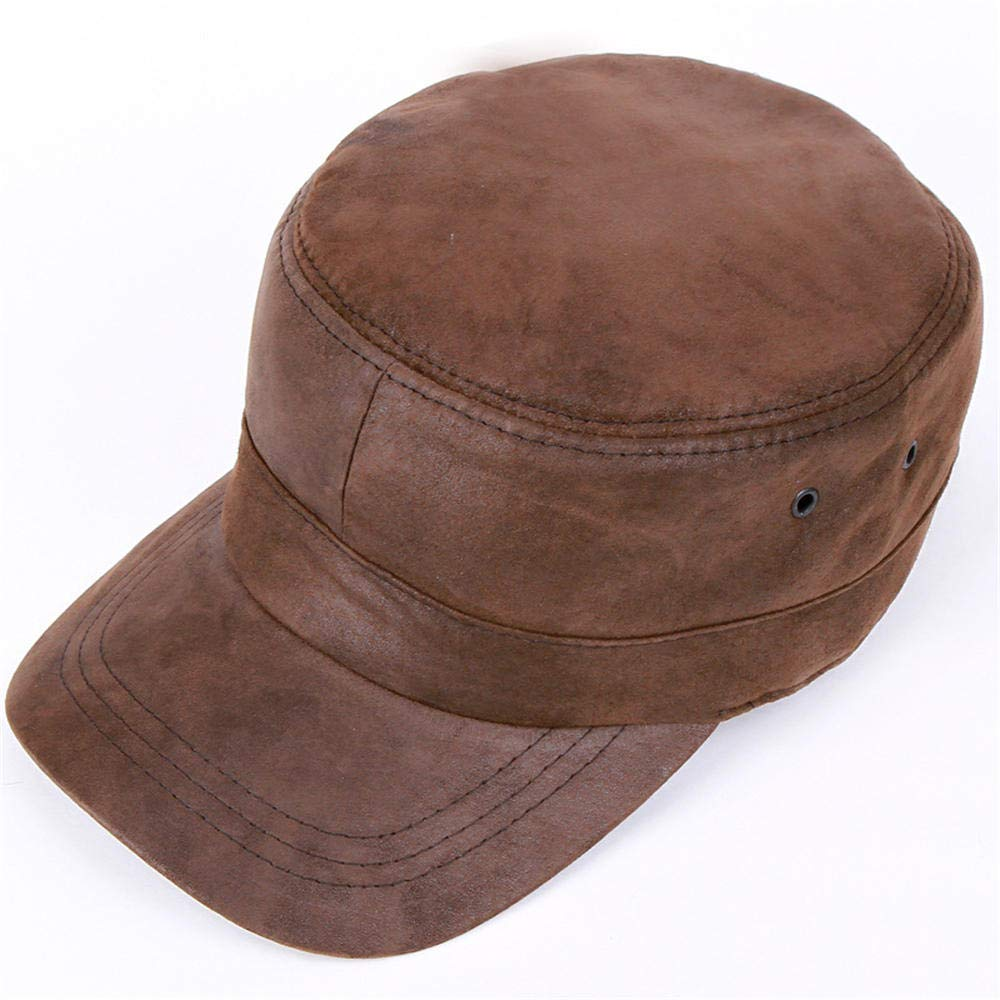 JDSXXZ Mens Vintage Military Cadet Caps Genuine Leather Hats Army Camo Style Hat Peaked Cap Autumn Winter Flatcap