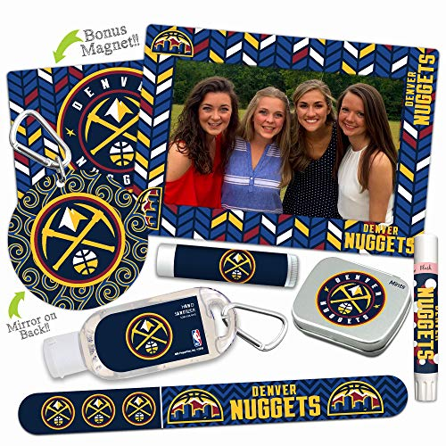 Denver Nuggets Deluxe Variety Set with Nail File, Mint Tin, Mini Mirror, Magnet Frame, Lip Shimmer, Lip Balm, Sanitizer. NBA Basketball Gifts and Gear for Women ()