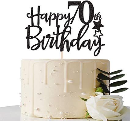 Marvelous Amazon Com Black Happy 70Th Birthday Cake Topper Hello 70 Cheers Funny Birthday Cards Online Aboleapandamsfinfo