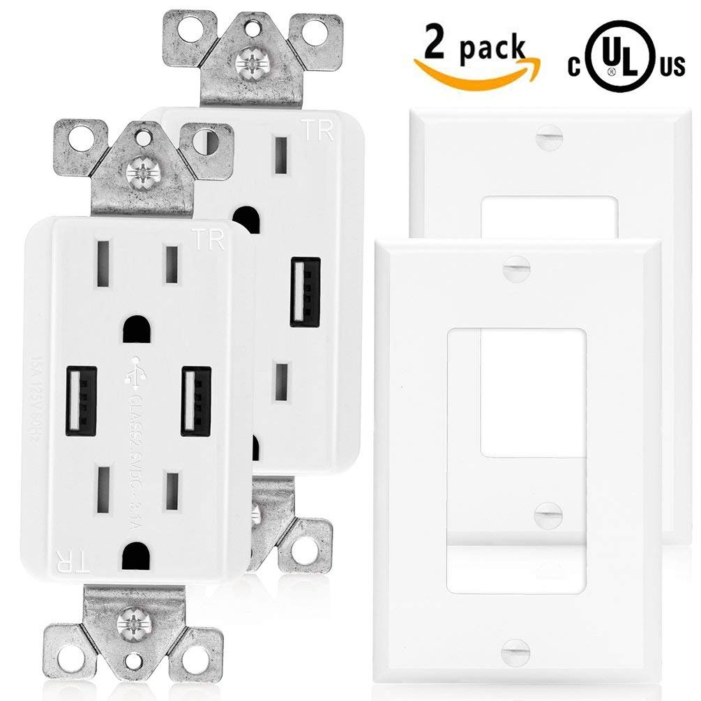 SenQ USB Outlet UL Listed High Speed Dual USB Charger and Duplex Receptacle 15-Amp, 3.1A Charging Capability, Tamper Resistant child proof safety Outlet Wall plate Included (2 PACK)