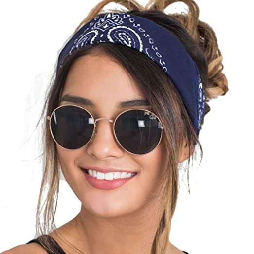 Hometom Women Fashion Bandana Scarf Square Head Scarf Lady Headwear (Navy) b021e76ce4b
