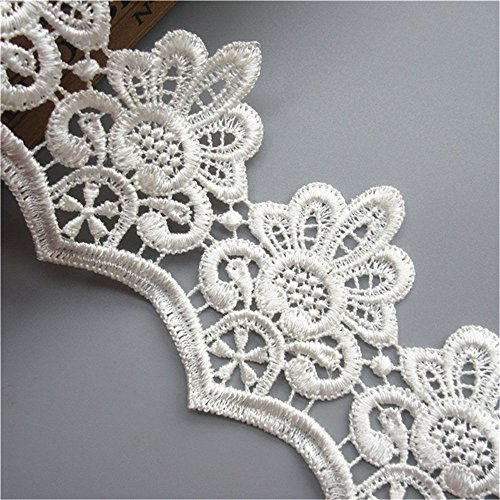 Lace Venice Dress - 2 Yard Floral Leaf Venice Lace Trim Ribbon Edge 7 cm Width Vintage Style White Edging Trimming Fabric Embroidered Applique Sewing Craft Wedding Bridal Dress Clothes Embellishment Party DIY Decoration
