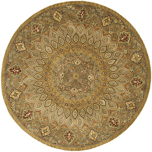 Oriental Rug Brown Round (Safavieh Heritage Collection HG914A Handcrafted Traditional Oriental Light Brown and Grey Wool Round Area Rug (8' Diameter))