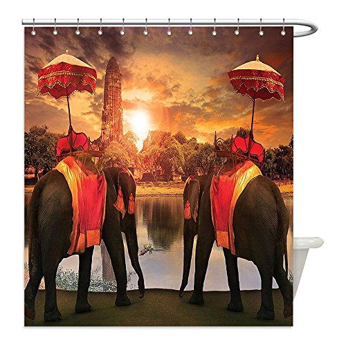 Pagoda Dress Costumes (Liguo88 Custom Waterproof Bathroom Shower Curtain Polyester Home Decor Elephants Dressing Traditional Costumes Standing In Front Of Pagoda Patience Sage Symbol Print Decor Multi Decorative bathroom)