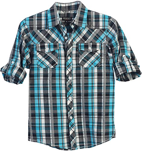 Gioberti Little Boys Long Sleeve Roll Up Turquoise / Gray Plaid Checked Shirt, Size 7