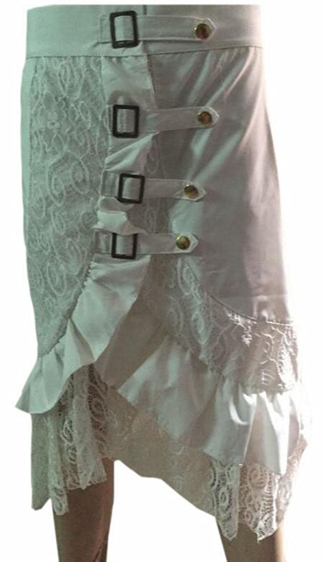 FLCH+YIGE Women's Stylish Slim Fit Punk Gothic Lace Side Slit Skirt Dress