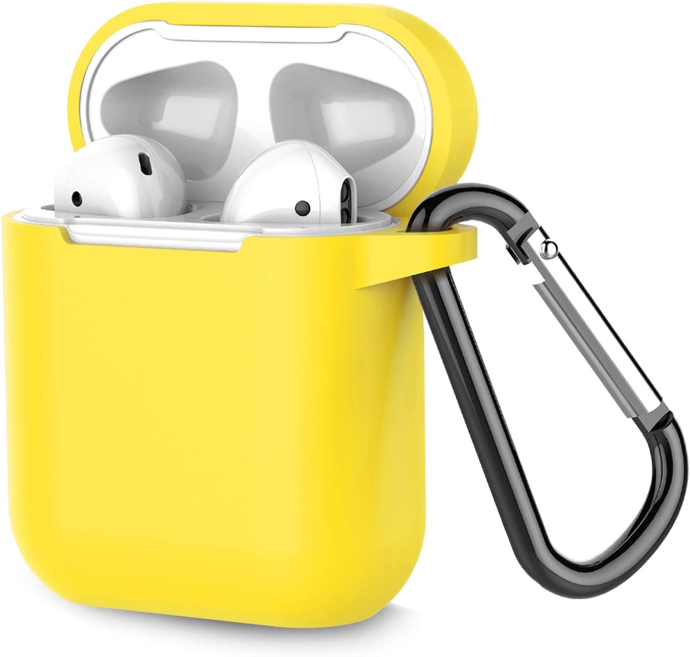 Coffea Protective Silicone Case with Keychain for Apple AirPods 1 & 2 (Front LED Not Visible) (Yellow)