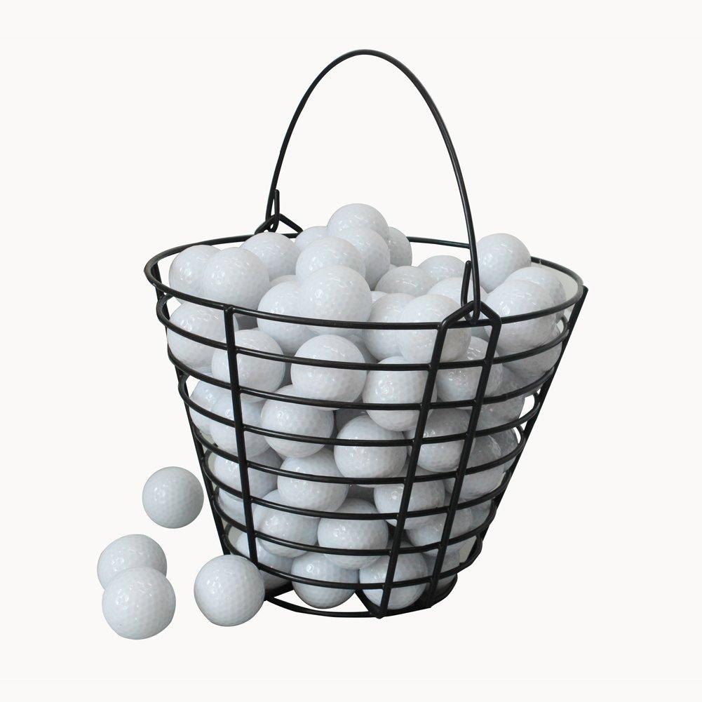 クレストゴルフメタルゴルフビッグバスケットゴルフボールコンテナ - ブラック(100個入り)   B075Q7L8BV
