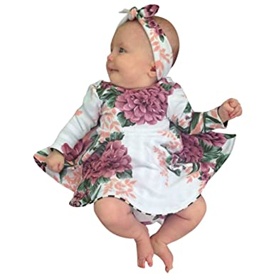 Amazon.com: MOVEmen Kids Baby Girl Floral Print Dress+Headband ...