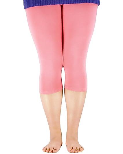 Womens PLUS Size Ultra Soft Bamboo Fibre Basic Capri Cropped 3/4 Length Breathable Yoga Capri Leggings Pink Fibre 3XL (US Size L)