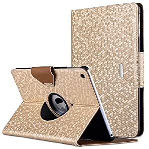 iPad Air Case,ULAK 360 Degrees Rotating Stand Case Bling Honeycomb Pattern Cover with Auto Sleep/ Wake Feature for iPad Air/ iPad 5 (2013 Release) (Gold)