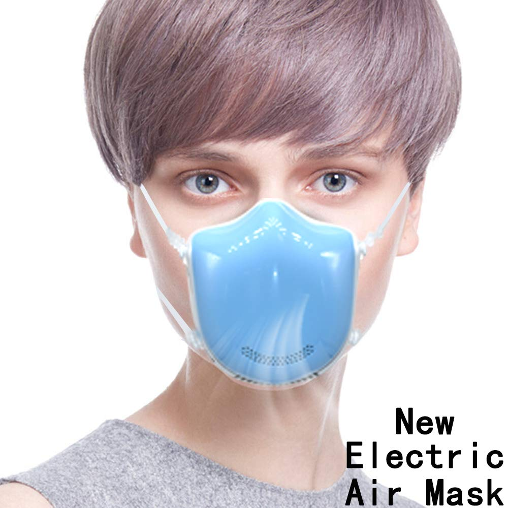 New Smart Electric Fan Masks - Medical Grade Fresh Air Purifying Mask with 2PCS Replacement Filters Anti Pollution/Anti Haze/Dust Proof Mask for Exhaust Gas, Pollen Allergy, PM2.5, Running, Cycling