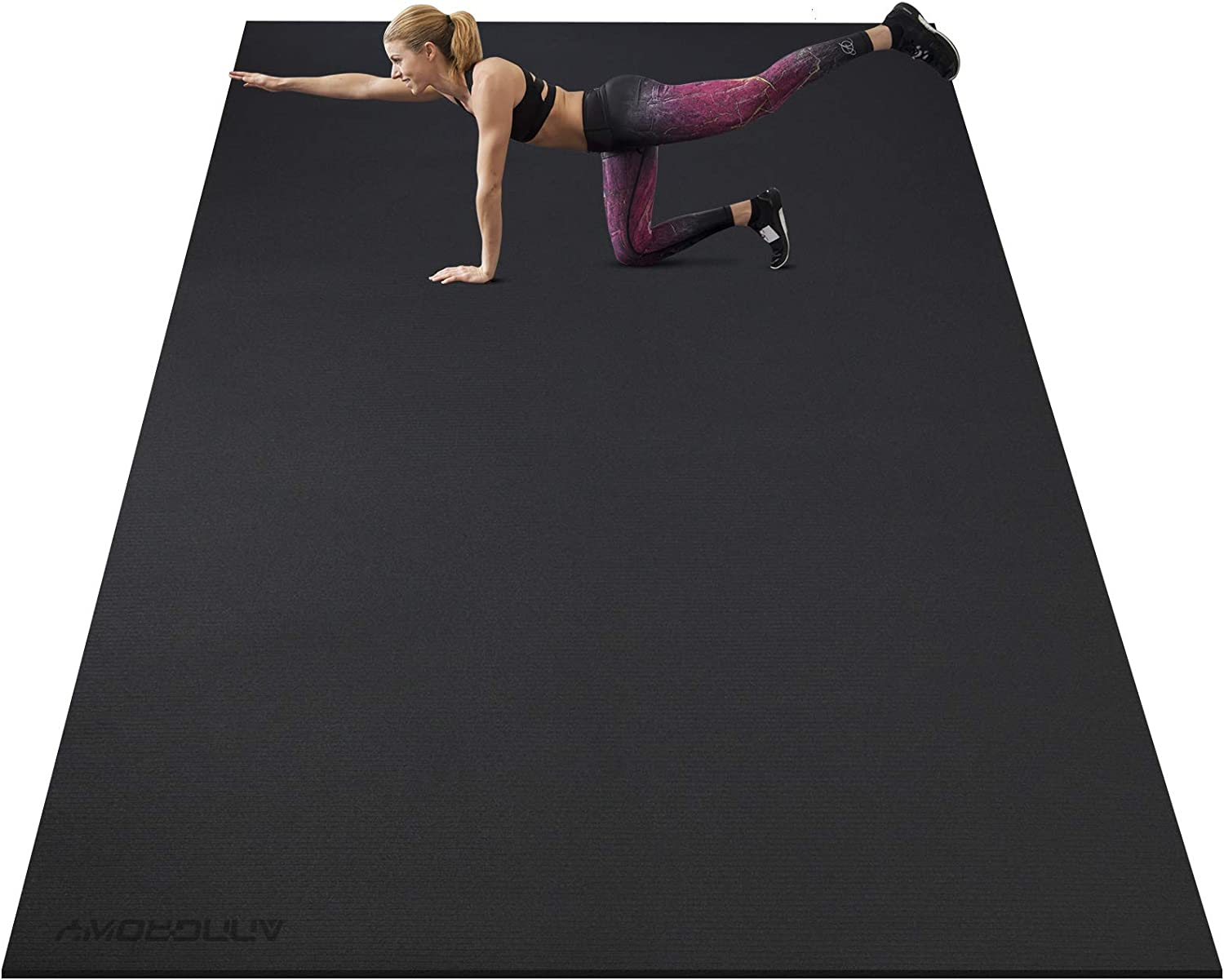 Large Exercise Mat 8'x5'x7mm Workout Mat for Home Gym Mats Exercise Gym Flooring Rubber Fitness Mat Large Yoga Mat Cardio Mat for Weightlifting, Jump Rope, MMA, Stretch, Plyo, HIIT, Shoe-Friendly