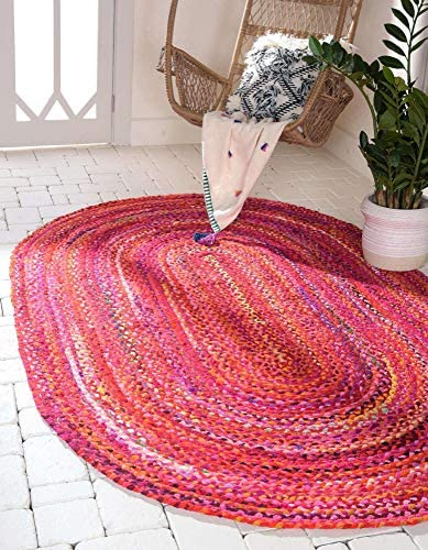 Unique Loom Braided Chindi Collection Casual Modern Red Oval Rug 3 3 x 5 0