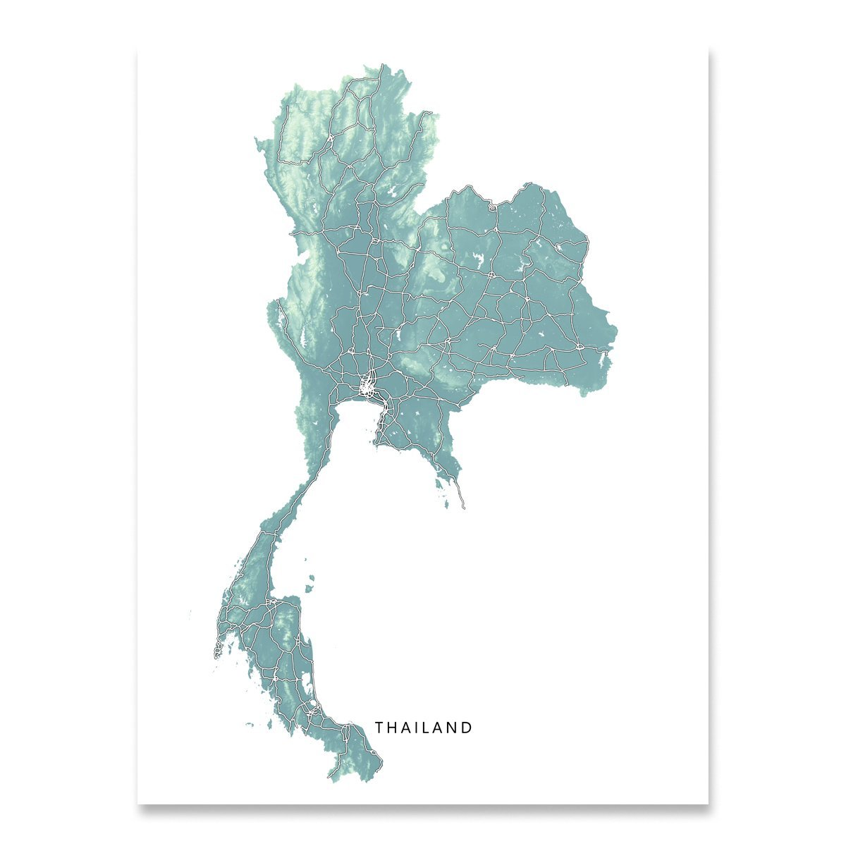 Thailand Map Art Print, Thai, Southeast Asia, Country Travel, Road Artwork Poster