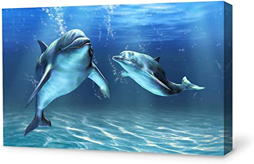 SIGNWIN Canvas Wall Art Lovely Dolphin Canvas Prints Home Artwork Decoration