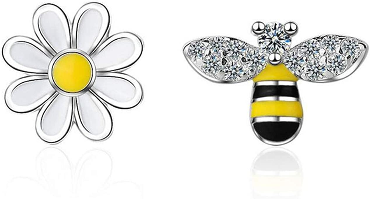 Yikoly Womens Earrings 925 Silver Simple Cubic Zirconia Flowers with Bee Asymmetry Fashion Stud Earrings Stud Jewellery for Daughters Girlfriend