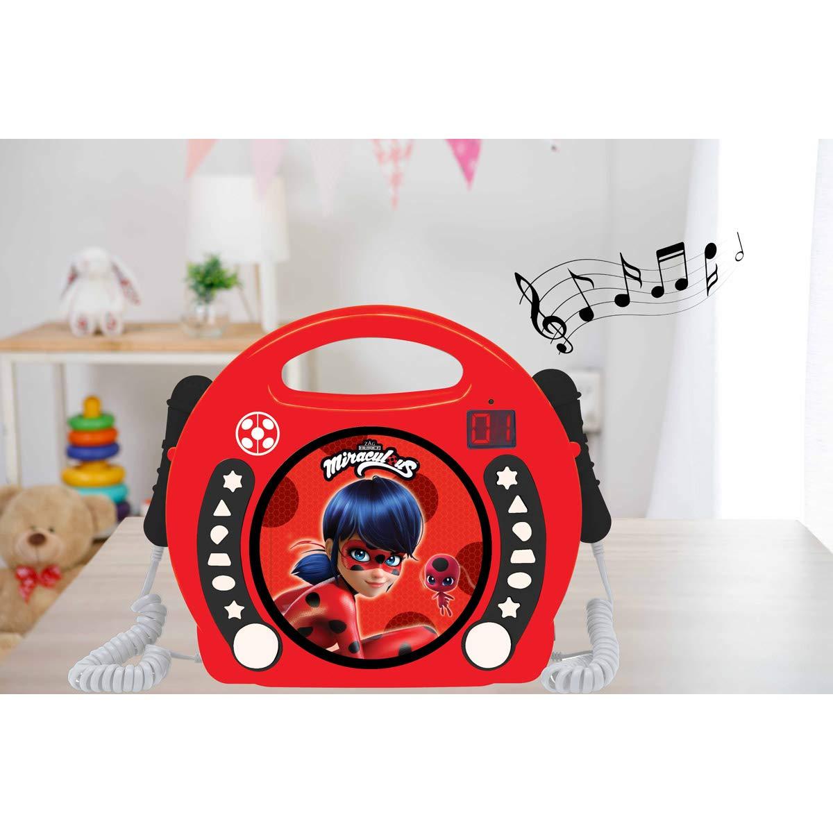 LEXiBOOK Miraculous Ladybug Radio CD, Programming Function, Headphones Jack, for Kids, with Power Supply or Batteries, Red/Black, RCDK100MI by LEXiBOOK (Image #4)