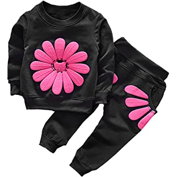 Webla Kids Girls Heart Letter Love Tracksuit Long Sleeve Sweatershirt Pants Skirt Clothes Set Ages 2-7 Years