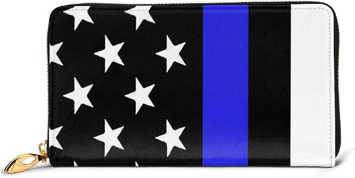 Blue Thin Line Of America Flag Womens Leather Wallet Large Long Zipper Wallet Clutch Vintage Novelty Personalized Printed Wallet Cash Coin Card Holder Organizer Ladies Purse
