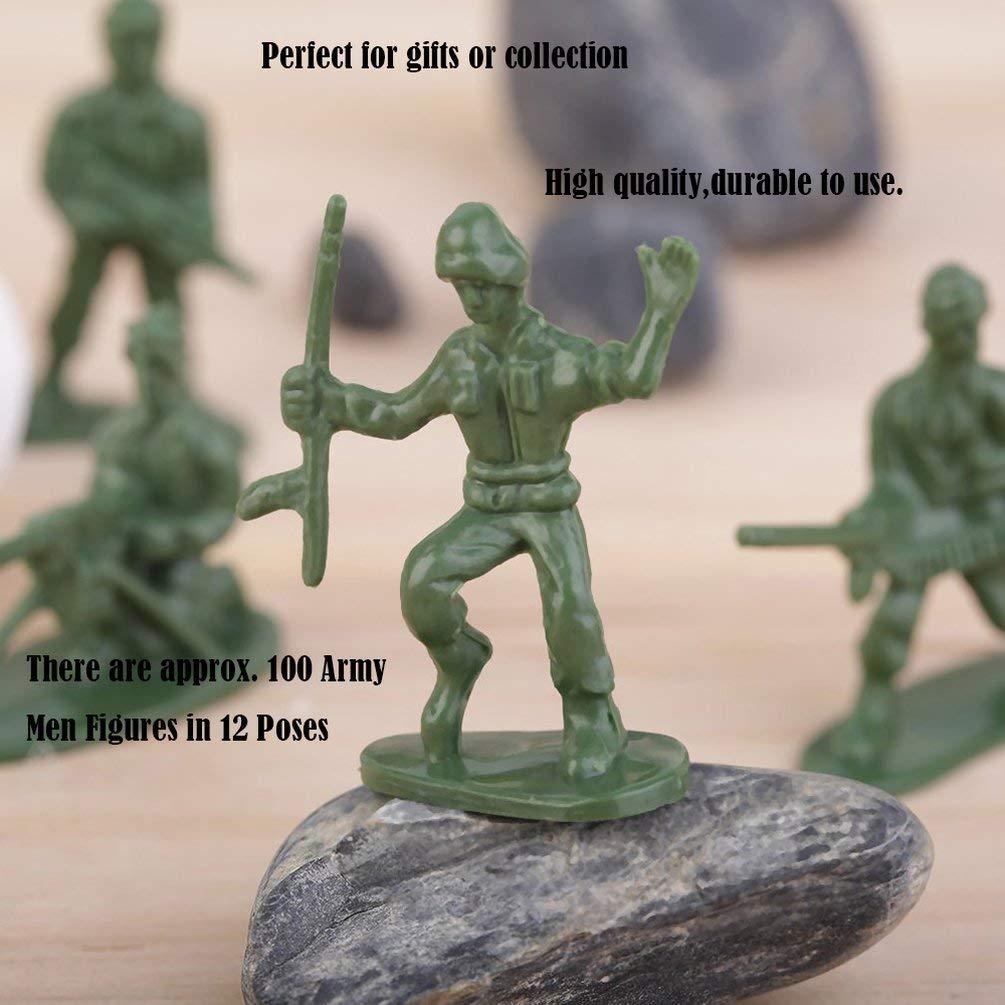 Verde Nihlsen 100pcs Pack Militares Soldados de Juguete de pl/ástico Ej/ército Hombre Figuras 12 posa Perfecto para Regalos o Colecci/ón Bueno para Inteligencia