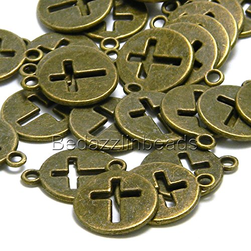 Pewter Cross Charms (10 Antique Bronze Cut Out Cross 5/8 in Flat Round Coin Charms Pewter Base Metal)