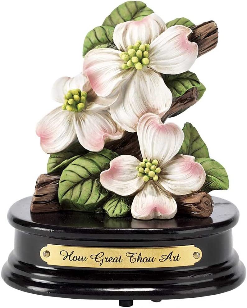 Pink Blossoms on Dogwood 6 x 6 Resin Musical Figurine Plays Tune Amazing Grace