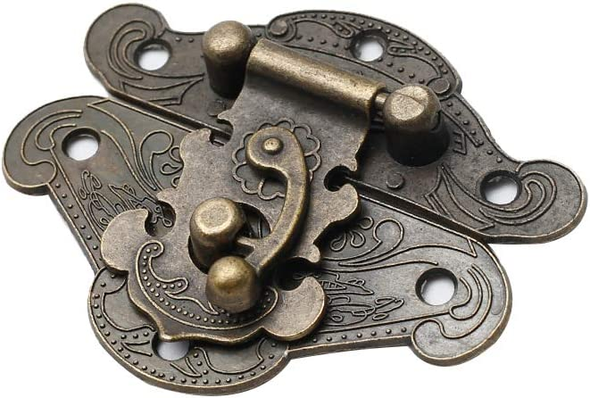 Kyuionty Vintage Design Decorative Cabinet Jewelry Box Hasp Latch /& Antique Bronze Small Hinge Buckle with Matching Screws Kit for Jewelry Box Wooden Chest Case