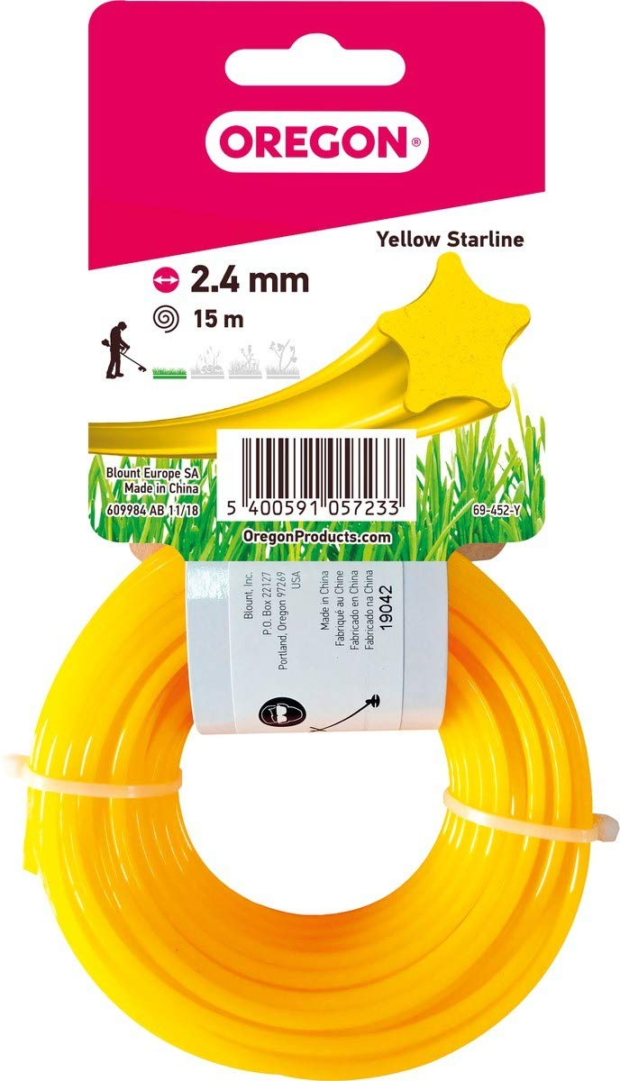 2,7 mm x 15 m Oregon 69-430-Y Yellow Star Rasentrimmerfaden Draht f/ür Rasentrimmer und Freischneider