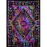 Twin Blue Tie Dye Purple Burning Sun Tapestry, Celestial Sun Moon Planet Bohemian Tapestry Tapestry Tapestry Wall Hanging Boho Tapestry Hippie Hippy Tapestry Beach Coverlet Curtain