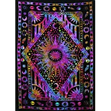 Twin Blue Tie Dye Purple Burning Sun Tapestry, Celestial Sun Moon Planet Bohemian Tapestry Tapestry Tapestry Wall Hanging Boho Tapestry Hippie Hippy Tapestry Beach Coverlet Curtain