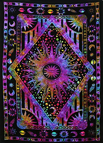 Jaipur Handloom Twin Blue Tie Dye Purple Burning Sun Tapestry, Celestial Sun Moon Planet Bohemian Tapestry Tapestry Tapestry Wall Hanging Boho Tapestry Hippie Hippy Tapestry Beach Coverlet Curtain