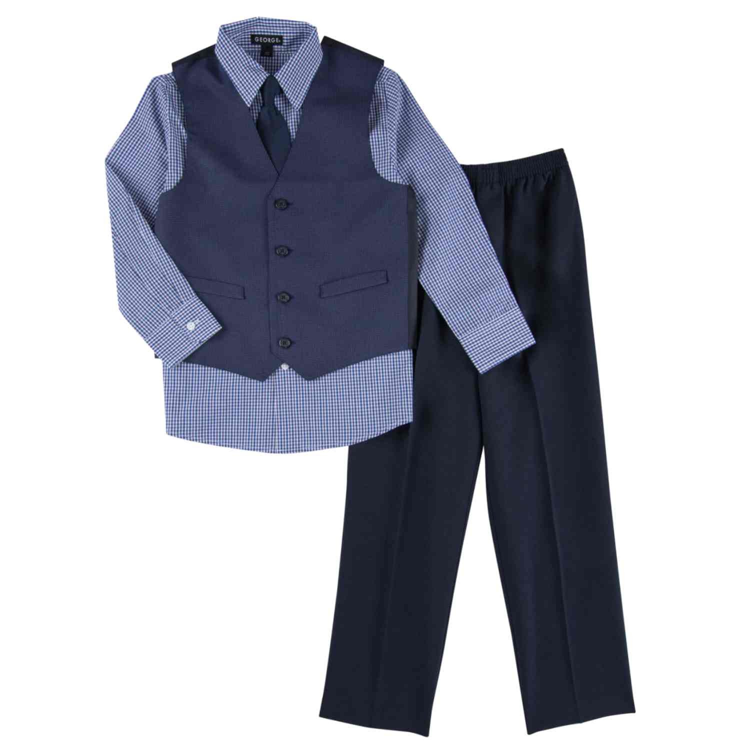 George Toddler & Boys 4 Piece Blue Holiday Dress Up Outfit Suit Tie & Vest 5