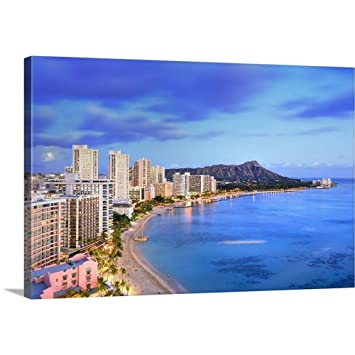 Hawaii Tropics Pacific Ocean Oahu Island Honolulu Waikiki Beach And Diamond Head Canvas Wa