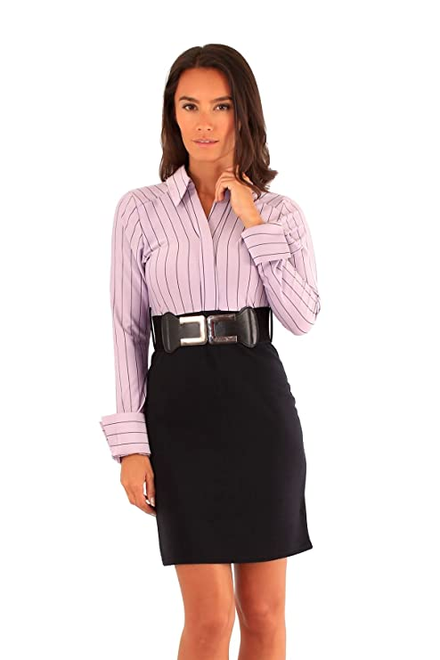 Damen 2 in1 Stripy Langarm-Kleid mit Gürtel Büro tragen: Amazon.de:  Bekleidung