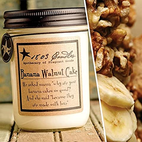 1803 Candles - 14 oz. Jar Soy Candles - (Banana Walnut Cake) - 14 Oz Glass Jar