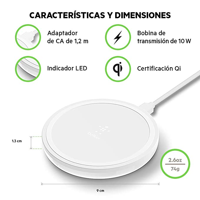 Belkin Boost Up, Base de Carga Inalámbrica, (para iPhone XS, XS Max, XR, X, 8, 8+, Samsung Galaxy S9, S9+, Note9), Pad 10W, Blanco