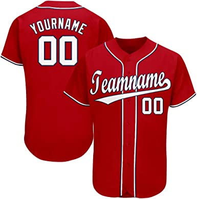 Custom Boys Baseball Jersey Personalized Baseball Shirt Button Down Printed Team Name and Number for Men/Women/Youth