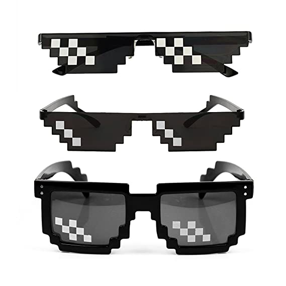 32ac2a3669 [3 Pack] Thug Life Sunglasses, Men Women Glass 8 Bit Pixel Mosaic Glasses  Photo Props Unisex Sunglass Toy - Black: Amazon.ca: Toys & Games