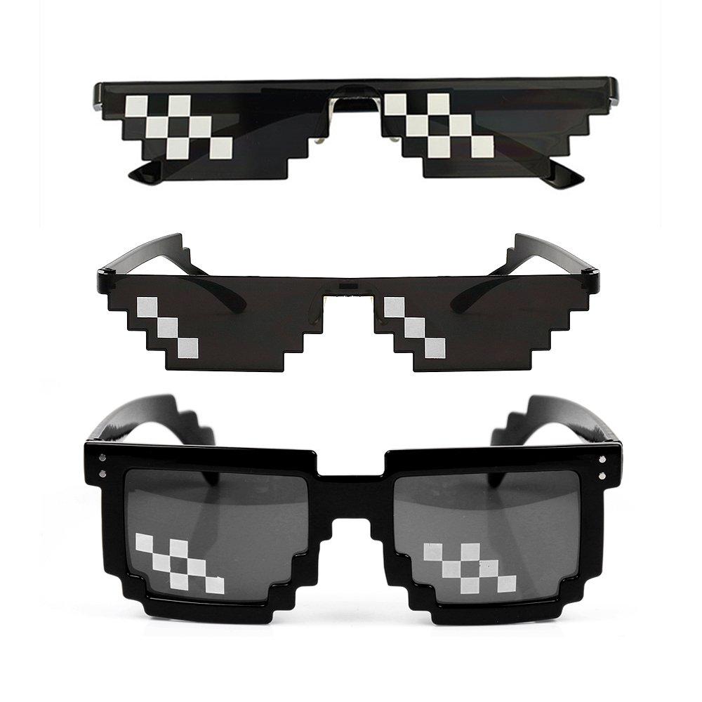 [3 Pack] Thug Life Sunglasses, Men Women Glass 8 Bit Pixel Mosaic Glasses Photo Props Unisex Sunglass Toy - Black