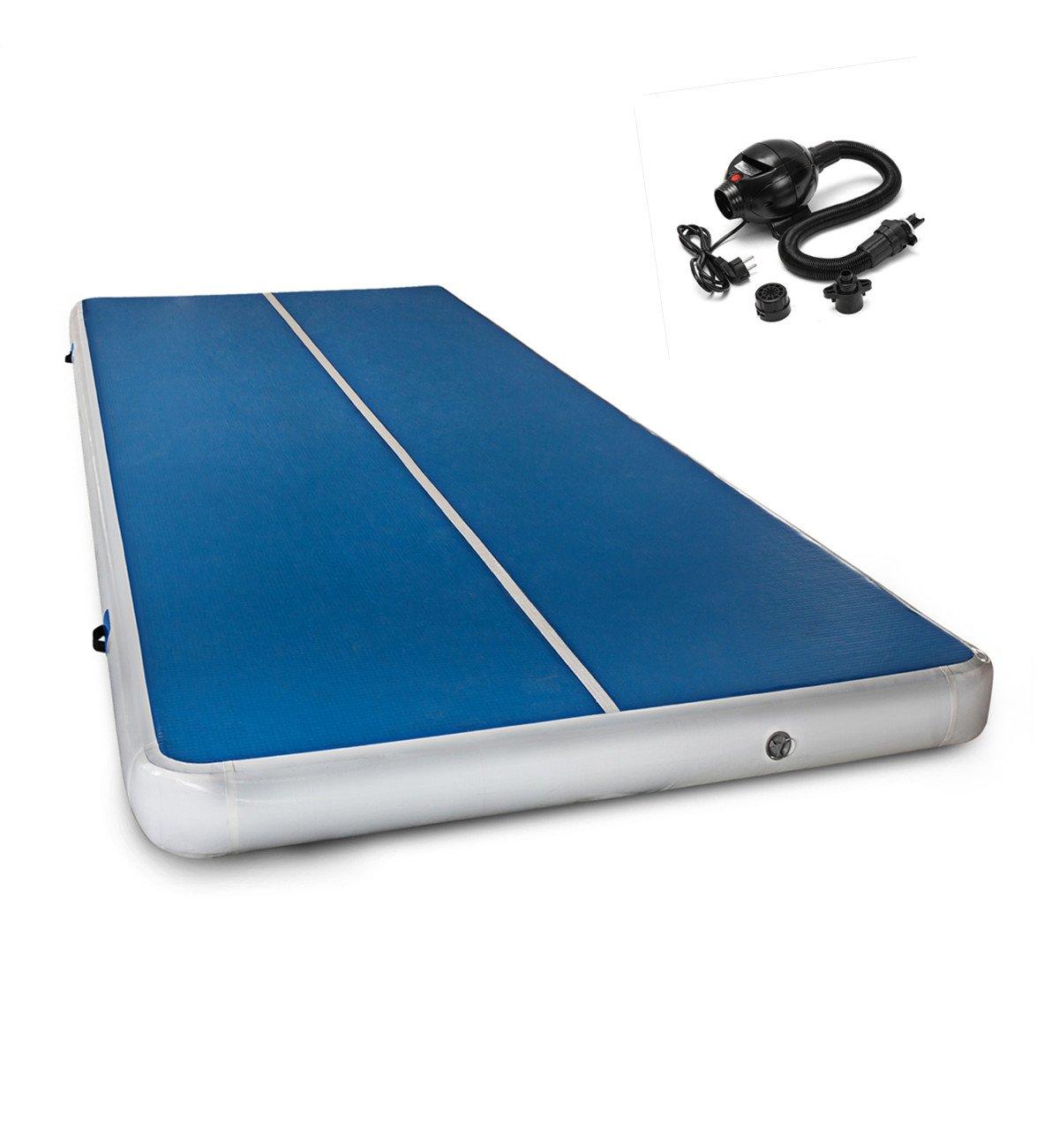 smarketbuy Airタンブルマットインフレータブルタンブルマット体操インフレータブルジムマットタンブルエアトラックホームの使用とトレーニング B07D9FRPJP Blue 6.6 x 19.6 ft with pump
