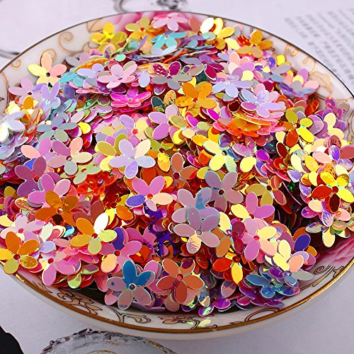 BarFeer 10G/Lot Pvc Sequins 10Mm Flower With 1 Center Hole Plum Blossom Cup Loose Sequins Mixed Ab Golden Brilliant Colors