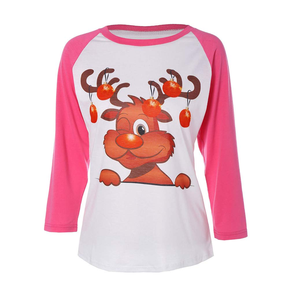 Hosamtel Women Christmas Long Sleeve T-Shirt Raglan Xmas Reindeer Print Casual Pullover Blouse Shirt Tops