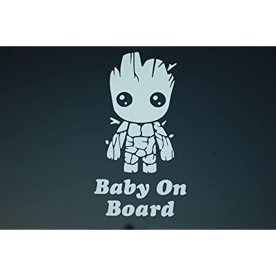 Five STAR SUPPLY Baby On Board Baby Groot Sticker Vinyl Decal Choose Color!! Car Window (V521) (White): Kitchen & Dining
