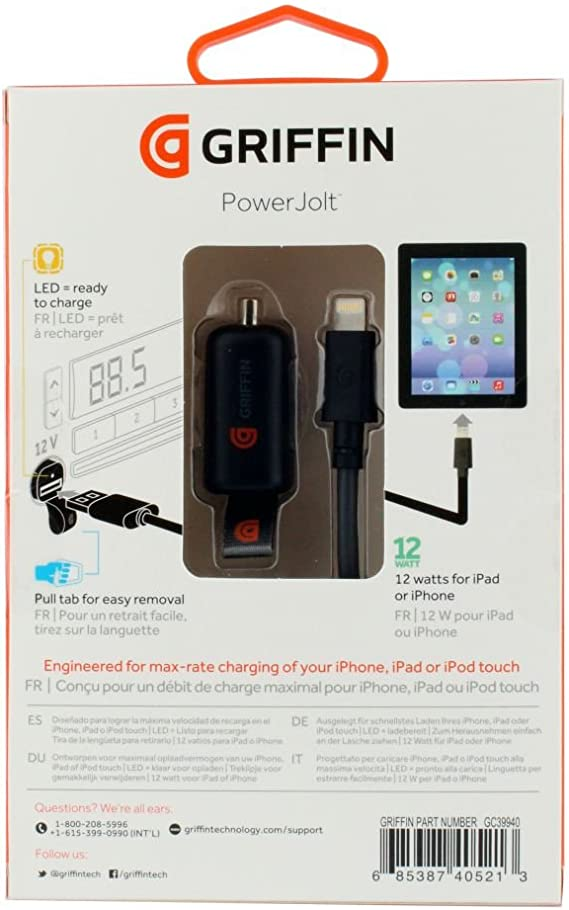 Griffin PowerJolt Car Charger with Lightning connector 12W - Maximum rate charging for iPad, iPhone and iPod